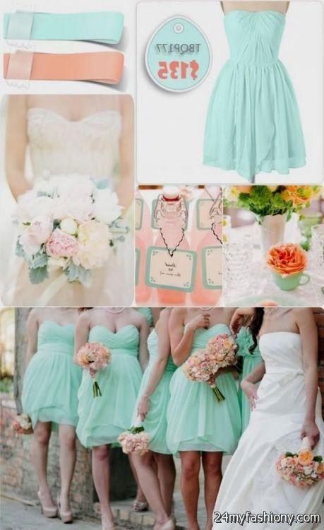 mint and peach bridesmaid dresses looks   B2B Fashion
