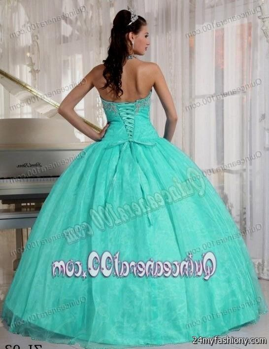 4ad5674c5c4 You can share these mint and white quinceanera dresses on Facebook
