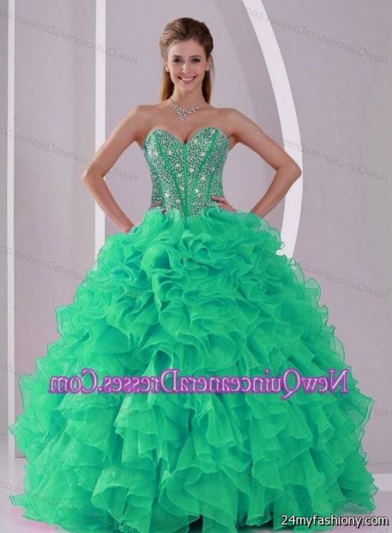 mint green with gold quinceanera dresses 2016-2017 » B2B Fashion