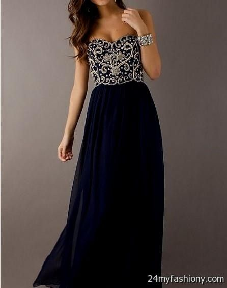 navy blue and gold prom dress 2016-2017 | B2B Fashion