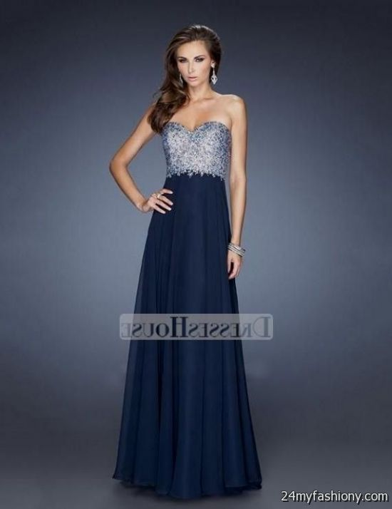 6e106e3001 You can share these navy blue and gold prom dress on Facebook