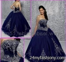 13684a956b You can share these navy blue and gold quinceanera dresses on Facebook