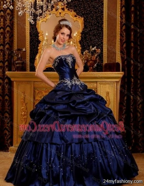 2019 year style- Dresses quinceanera blue and silver