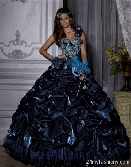Fashion style Dresses quinceanera blue and silver for woman