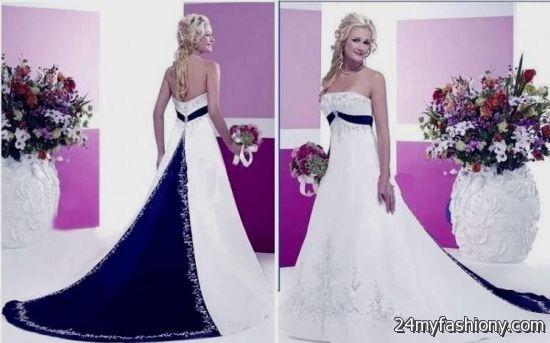 Navy Blue And White Wedding Dresses 2016 2017 B2b Fashion