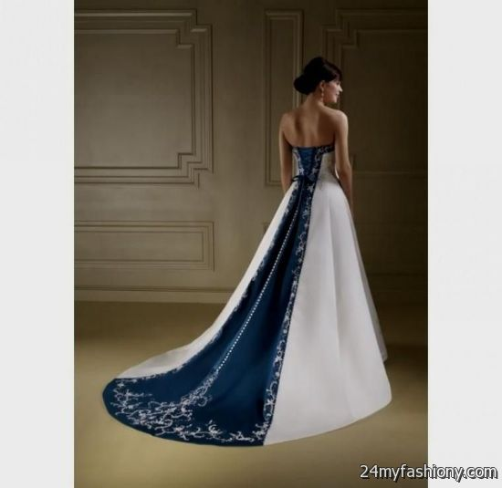 Navy blue and white wedding dresses 2016 2017 b2b fashion for White wedding dress with blue accents