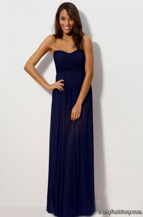 Strapless Navy Blue Bridesmaid Dresses - Wedding Dress Ideas