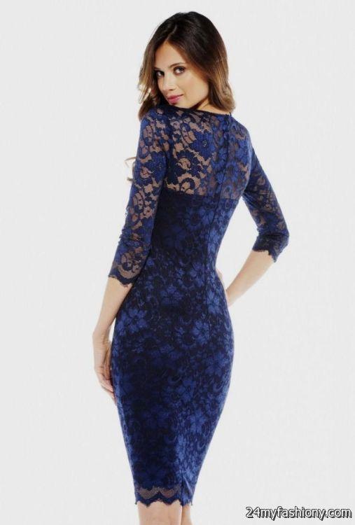 navy blue lace dress 3/4 sleeve 2016-2017 » B2B Fashion