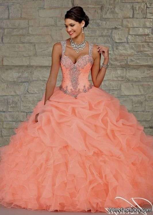 38d3ed8375b You can share these neon coral quinceanera dresses on Facebook