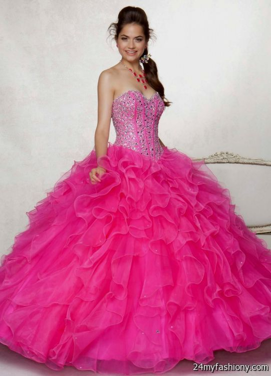 Neon Pink Prom Dresses Ball Gown 2016 2017 B2b Fashion