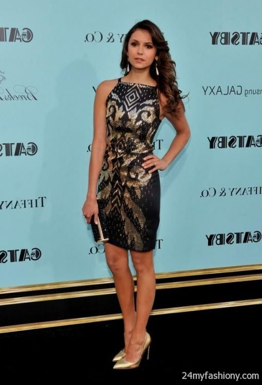 Nina dobrev black lace dress