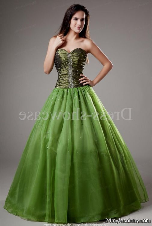 Olive Green Evening Gown