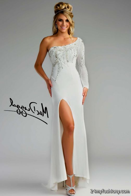 One Long Sleeve White Prom Dress Looks B2b Fashion