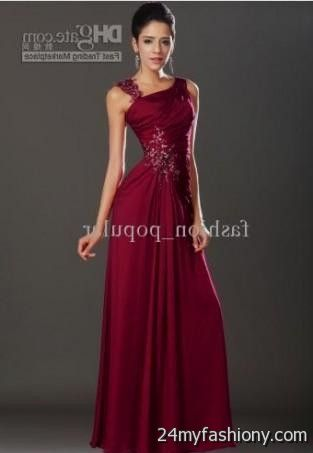 One shoulder red evening gowns 2017