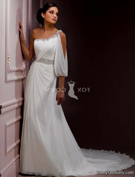 one shoulder wedding dress chiffon 2016-2017 | B2B Fashion