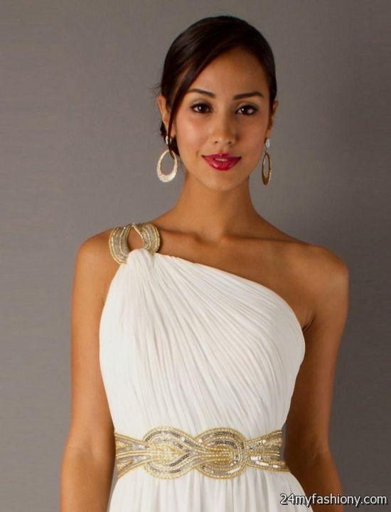 One Shoulder White Chiffon Dress 2016 2017 B2b Fashion