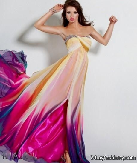 Orange multi colored prom dresses