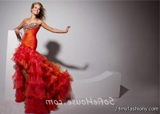 Orange multi colored prom dresses