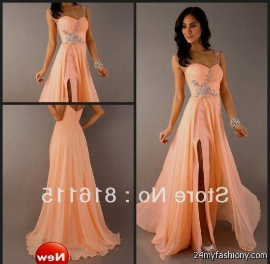 Peach And Gold Prom Dress Looks