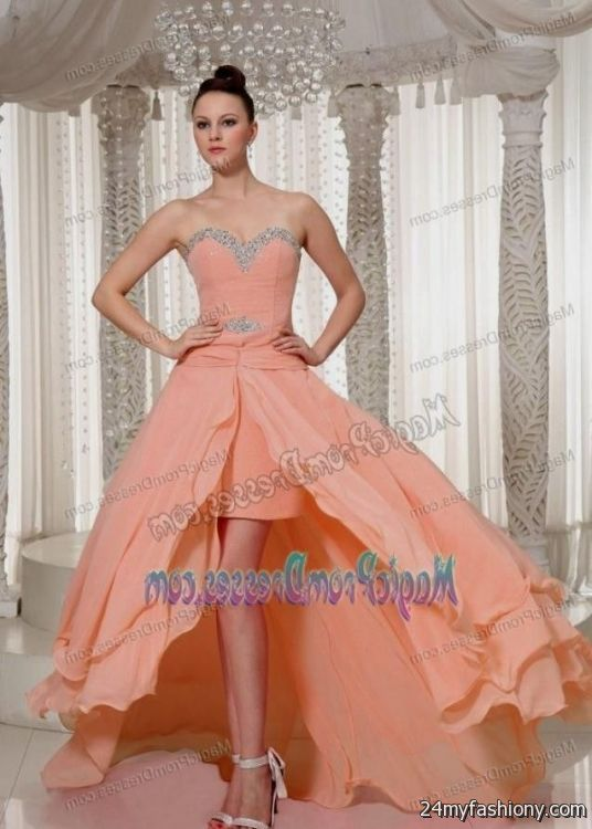 peach prom dress high low wwwimgkidcom the image kid