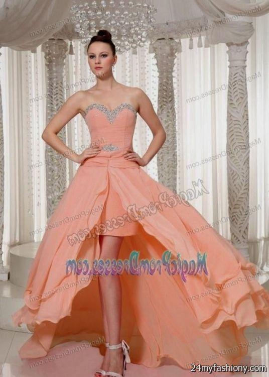 peach high low prom dresses 20162017 b2b fashion
