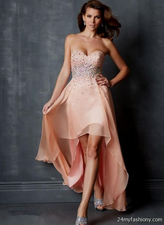 peach prom dress high low 20162017 b2b fashion