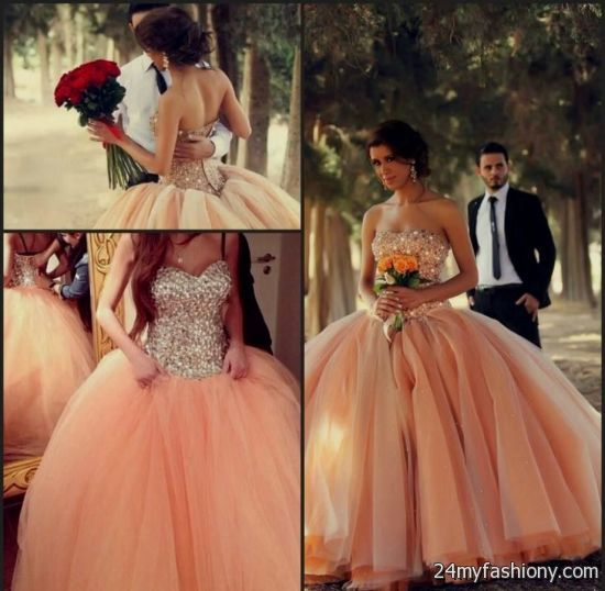 Peach wedding dress 2016 2017 b2b fashion for Peach dresses for wedding