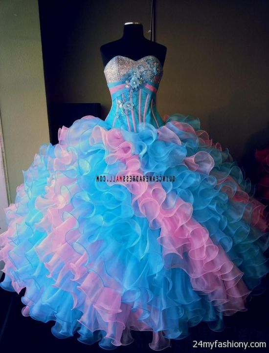 Pink And Blue Quinceanera Dresses - Missy Dress
