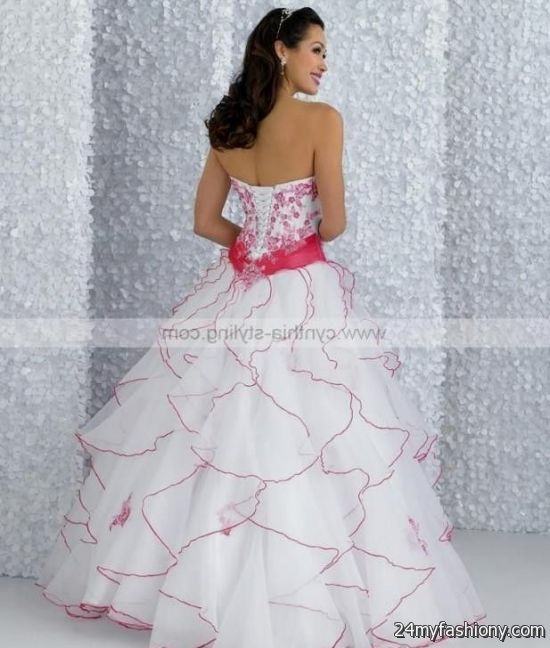 White And Hot Pink Prom Dresses - Discount Evening Dresses