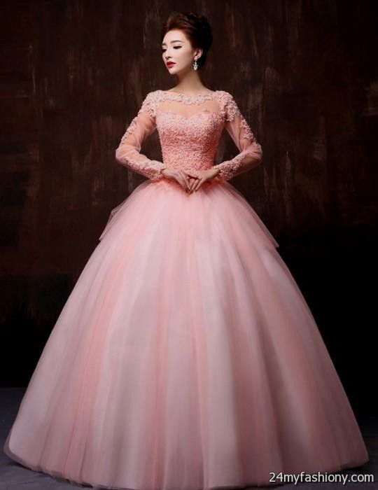 pink ball gown with sleeves 2016-2017 » B2B Fashion