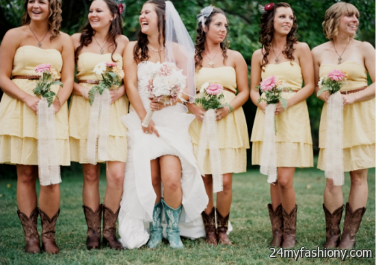 wpid pink bridesmaid dresses with cowboy boots 2016 2017 19 - Cowboy Themed Bridesmaid Dresses