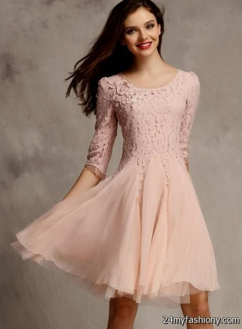 pink lace dress with sleeves 2016-2017 » B2B Fashion