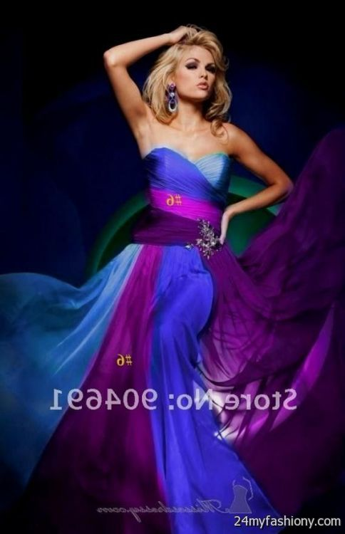 bridesmaid dresses in purple and blue