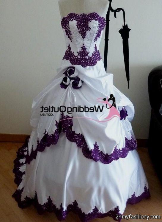 Purple and white wedding dress 2016 2017 b2b fashion for Purple white wedding dresses