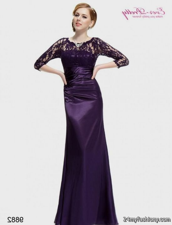 purple evening gown with sleeves 2016-2017 » B2B Fashion