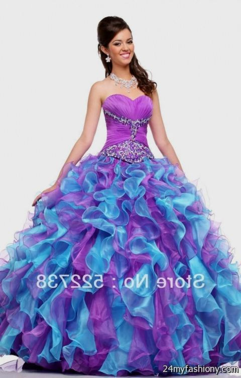 Purple And Blue And Pink Quinceanera Dresses - Missy Dress
