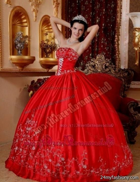 Quinceanera dresses color red 2017