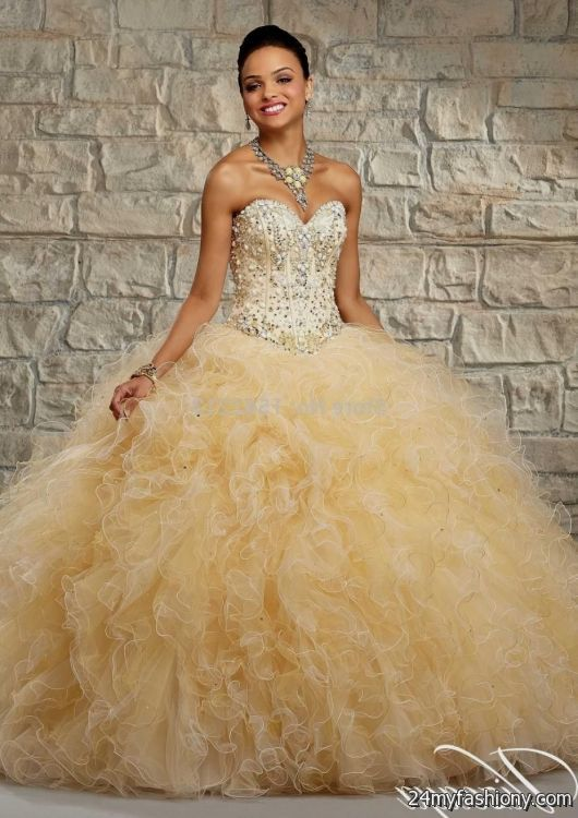 Dresses quinceanera coral with gold