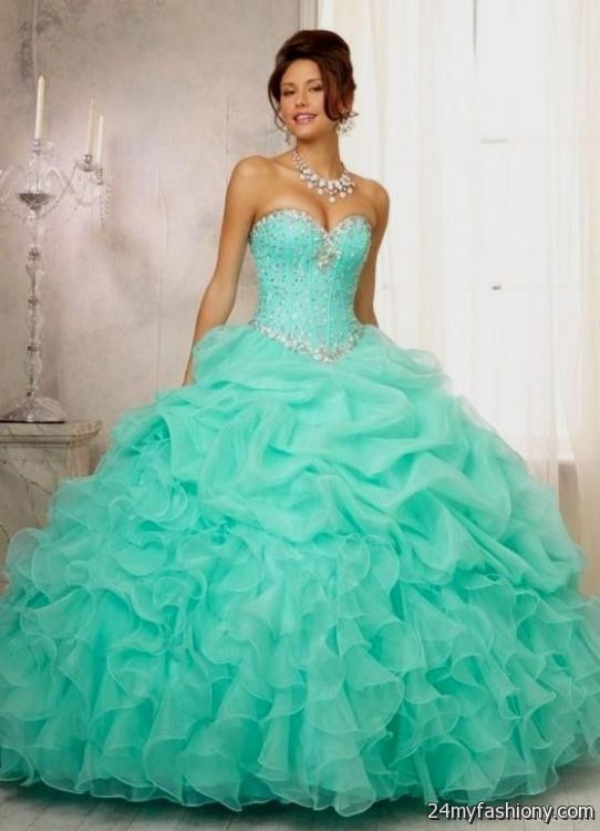 quinceanera dresses aqua green 2016-2017
