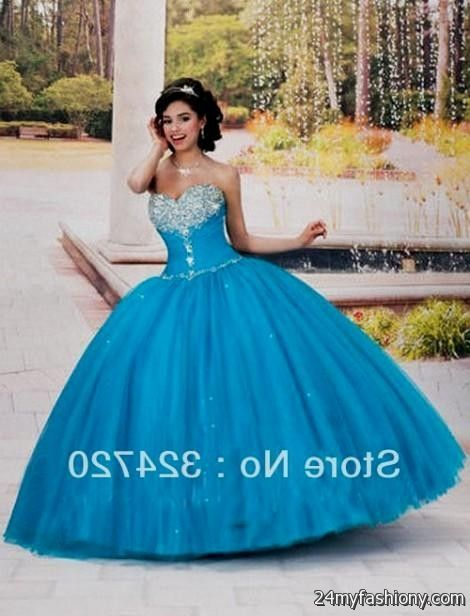 Quinceanera Dresses Blue And White Puffy - Missy Dress
