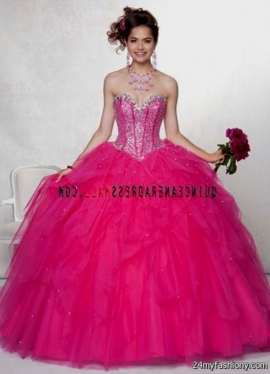Pink hot puffy quinceanera dresses rare photo