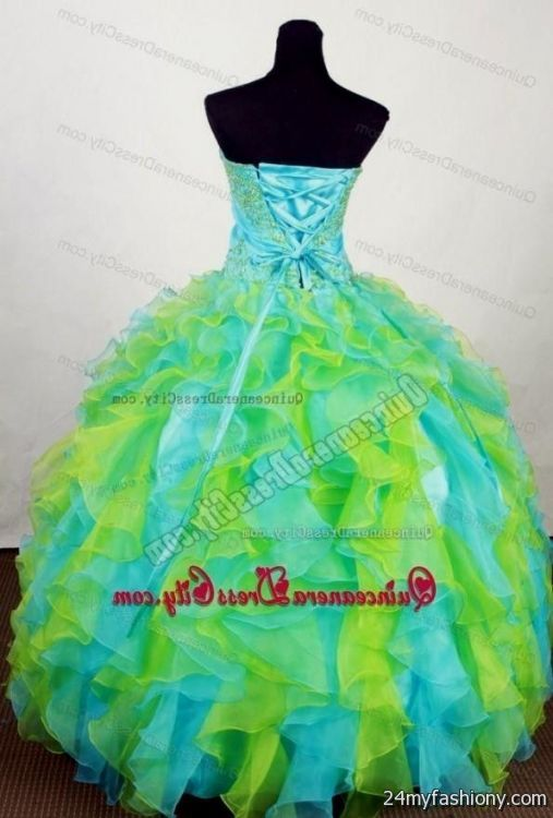 Quinceanera Dresses Lime Green And Blue - Missy Dress