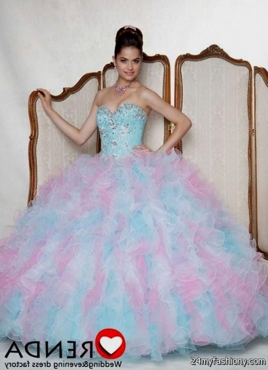 Watch - Blue and pink quinceanera dresses video