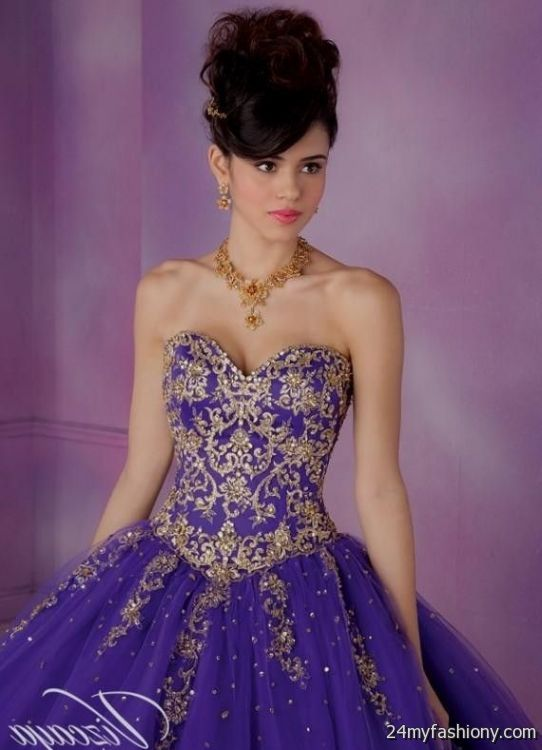 Quinceanera Dresses Purple And Gold 2016 2017 B2b Fashion