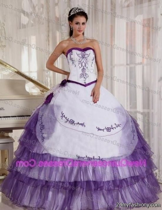 quinceanera dresses purple and white 2016-2017 | B2B Fashion White And Purple Quinceanera Dresses
