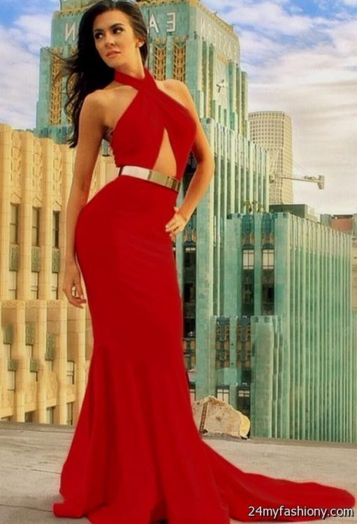 Gold and red formal dresses