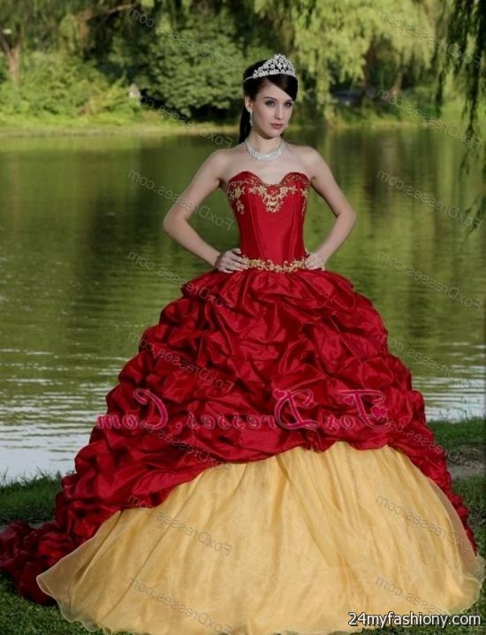 325209367f2 You can share these red and gold quinceanera dresses on Facebook