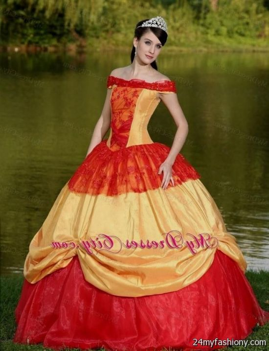 Quinceanera dresses in red and gold
