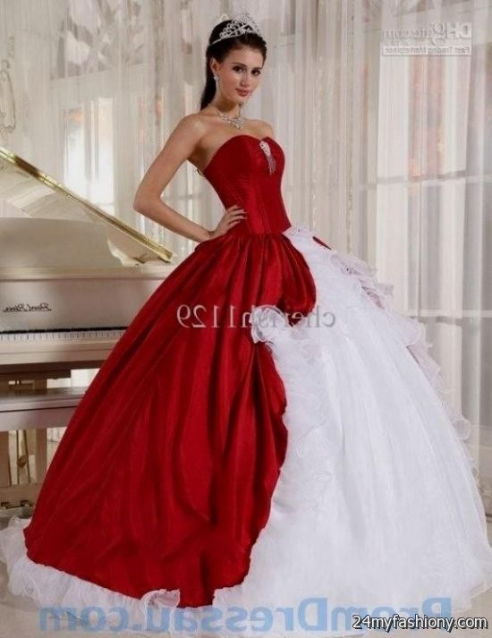 Red and white ball gown dresses