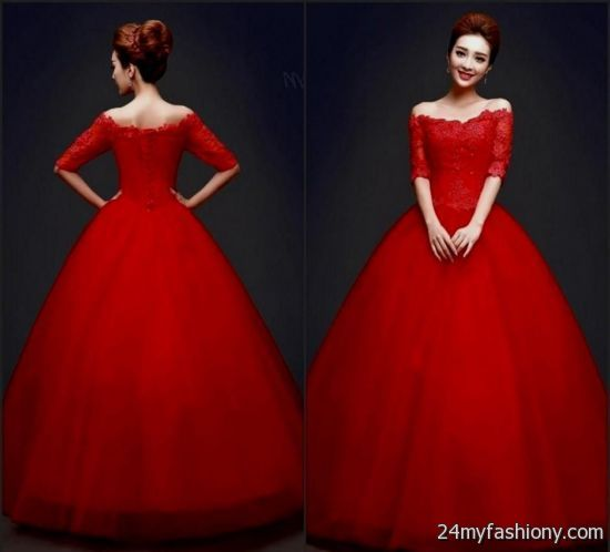 Red ball gowns with sleeves » B2B Fashion